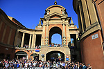 Huge crowds gathered at the the hairpin to commence the San Luca climb during Stage 1 of the 2019 Giro d'Italia, an individual time trial running 8km from Bologna to the Sanctuary of San Luca, Bologna, Italy. 11th May 2019.<br /> Picture: Eoin Clarke | Cyclefile<br /> <br /> All photos usage must carry mandatory copyright credit (© Cyclefile | Eoin Clarke)
