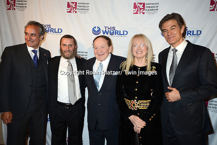 David Sterling, Rabbi Shmuley Boteach and Sheldon Adelson, Dr Miriam Adelson and Dr Mehmet Oz  attend the Inaugural Champion of Jewish Values International Awards Gala on June 4, 2013 at the Marriott Marquis Hotel in New York City. Sheldon Adelson, Mrs Miriam Adelson and Dr Mehmet Oz were honored.
