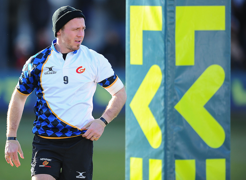 Newport Gwent Dragons' Richie Rees during the pre match warm up<br /> <br /> Photographer Craig Thomas/CameraSport<br /> <br /> Rugby Union - European Rugby Challenge Cup Pool 3 - Newport Gwent Dragons v Exeter Chiefs - Sunday 1st February  2015 - Rodney Parade - Newport <br /> <br /> &copy; CameraSport - 43 Linden Ave. Countesthorpe. Leicester. England. LE8 5PG - Tel: +44 (0) 116 277 4147 - admin@camerasport.com - www.camerasport.com