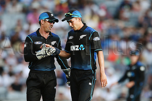 03.02.2016. Auckland, New Zealand.  Trent Boult and Luke Ronchi of New Zealand having a word. ANZ International Series, 1st Chappell-Hadlee Trophy ODI between New Zealand Back Caps and Australia at Eden Park in Auckland, New Zealand.