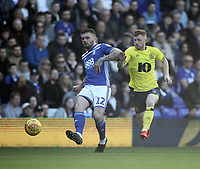Blackburn Rovers Harrison Reed in action with Birmingham City's Harlee Dean<br /> <br /> Photographer Mick Walker/CameraSport<br /> <br /> The EFL Sky Bet Championship - Birmingham City v Blackburn Rovers - Saturday 23rd February 2019 - St Andrew's - Birmingham<br /> <br /> World Copyright © 2019 CameraSport. All rights reserved. 43 Linden Ave. Countesthorpe. Leicester. England. LE8 5PG - Tel: +44 (0) 116 277 4147 - admin@camerasport.com - www.camerasport.com