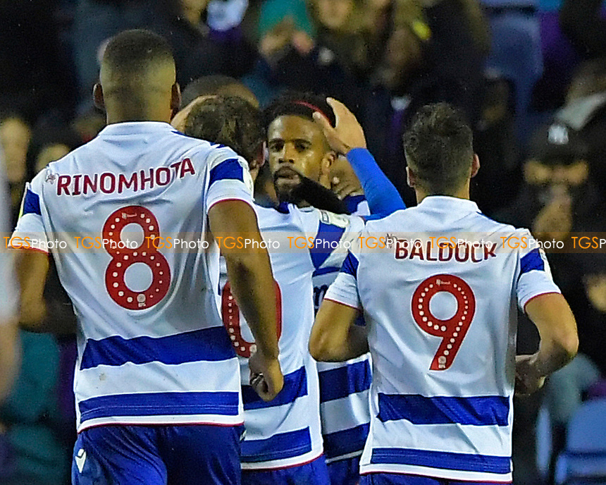 Garath McCleary of Reading middle is mobbed after scoring the third goal during Reading vs Luton Town, Sky Bet EFL Championship Football at the Madejski Stadium on 9th November 2019