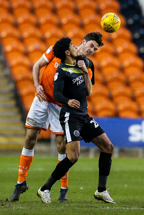 Blackpool's Ben Heneghan vies for possession with Shrewsbury Town's Josh Laurent<br /> <br /> Photographer Alex Dodd/CameraSport<br /> <br /> The EFL Sky Bet League One - Blackpool v Shrewsbury Town - Saturday 19 January 2019 - Bloomfield Road - Blackpool<br /> <br /> World Copyright &copy; 2019 CameraSport. All rights reserved. 43 Linden Ave. Countesthorpe. Leicester. England. LE8 5PG - Tel: +44 (0) 116 277 4147 - admin@camerasport.com - www.camerasport.com