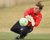 Kati Jo Spisak of the Washington Freedom makes a save during a WPS pre season match against Sky Blue F.C. at Maryland Soccerplex,in Boyd's, Maryland on March 14 2009. Sky Blue won the match 1-0