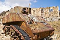 Rusting American WW2 Sherman tank in Mercantour Maritime Alps, France
