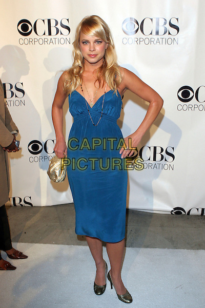 NICOLE PAGGI.CBS, Paramount, UPN, Showtime, and King World 2006 TCA Winter Press Tour Party - Arrivals held at the Wind Tunnel, Pasadena, California..January 18th, 2006.Photo: Zach Lipp/AdMedia/Capital Pictures.Ref: ZL/ADM.full length blue dress gold purse.www.capitalpictures.com.sales@capitalpictures.com.© Capital Pictures.