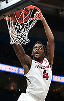 NWA Democrat-Gazette/CHARLIE KAIJO Arkansas Razorbacks guard Daryl Macon (4) dunks during the Southeastern Conference Men's Basketball Tournament, Thursday, March 8, 2018 at Scottrade Center in St. Louis, Mo.