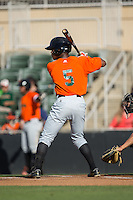 Jalen Miller (5) of the Augusta GreenJackets at bat against the Kannapolis Intimidators at Intimidators Stadium on May 30, 2016 in Kannapolis, North Carolina.  The GreenJackets defeated the Intimidators 5-3.  (Brian Westerholt/Four Seam Images)