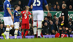 Ross Barkley of Everton is confronted by Georginio Wijnaldum and Dejan Lovren of Liverpool after a tackle on Jordan Henderson of Liverpool during the English Premier League match at Goodison Park, Liverpool. Picture date: December 19th, 2016. Photo credit should read: Lynne Cameron/Sportimage