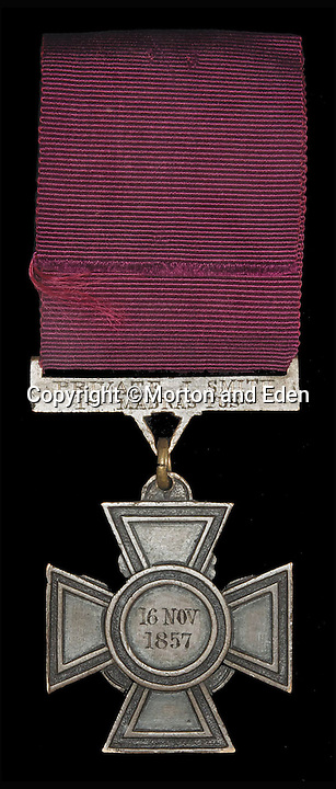 BNPS.co.uk (01202 558833)<br /> Pic: Morton&amp;Eden/BNPS<br /> <br /> A Victoria Cross awarded to a British private who bayoneted dozens of sword-wielding warriors despite being badly wounded and under intense fire is tipped to sell for &pound;100,000.<br /> <br /> Private John Smith had been cut in the head by a sword, suffered a bayonet wound to the side and a contusion in the shoulder when he charged through a blockaded gate at the Relief of Lucknow in 1857.<br /> <br /> His VC has now emerged for sale at London auctioneers Morton and Eden.