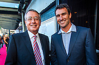 Darling Harbour, Sydney. (20th February, 2013): Deputy Prime Minister Wayne Swan (AUS) with Joel Parkinson (AUS).  Australian surfing celebrated its champions tonight with Mark Richards and Stephanie Gilmore honoured at the Australian Surfing Awards in Sydney...The Awards marked a significant milestone in Surfing Australia's history as it celebrated its 50th Anniversary following its formation in 1963 as the Australian Surfriders Association and over 500 guests celebrated at the gala event. It was an unprecedented gathering of Australian surfing legends from the past 50 years...Four-times World Champion Mark Richards was named Australia's Most Influential Surfer 1963-2013, while five-times World Champion Stephanie Gilmore was inducted as the 35th member of the Australian Surfing Hall of Fame...The campaign to find Australia's 10 Most Influential Surfers 1963-2013 was conducted through a public vote and through votes provided by the members of the Australian Surfing Hall of Fame...The 10, in order of votes received, was: Mark Richards, Simon Anderson, Nat Young, Michael Peterson, Midget Farrelly, Tom Carroll, Layne Beachley, Wayne Bartholomew, Mark Occhilupo and Bob McTavish...Peter 'Joli' Wilson's photo of the wave Cloudbreak off Fiji during the enormous run of swell in June won the Nikon Surf Photo of the Year and Storm Surfers 3D featuring Ross Clarke-Jones and Tom Carroll was named the Nikon Surf Movie of the Year...2013 AUSTRALIAN SURFING AWARDS WINNERS..Australian Surfing Hall of Fame Inductee: Stephanie Gilmore.Australia's Most Influential Surfer 1963-2013: Mark Richards.Male Surfer of the Year: Joel Parkinson.Female Surfer of the Year: Stephanie Gilmore.Rising Star: Jack Freestone.Waterman of the Year: Jamie Mitchell.ASB Surfing Spirit Award: Misfit Aid.Peter Troy Lifestyle Award: Bob Smith.Surf Culture Award: The Reef - by the Australian Chamber Orchestra and Tura New Music.Simon Anderson Club Award: Kirra Surfriders Club.Nikon Surf Movie of the Year: Storm