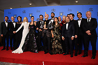 For Best Television Limited Series or Motion Picture Made for Television, the Golden Globe is awarded to &quot;The Assassination of Gianni Versace: American Crime Story&quot; (FX Networks). Tom Rob Smith, Dan Minahan, Cody Fern, Judith Light, Penelope Cruz, Edgar Ramirez, Ryan Murphy, Ricky Martin, Alexis Martin Woodall, Lou Eyrich, Jon Jon Briones, Finn Wittrock, Brad Falchuk and Larry Karaszewski pose with the award backstage in the press room at the 76th Annual Golden Globe Awards at the Beverly Hilton in Beverly Hills, CA on Sunday, January 6, 2019.<br /> *Editorial Use Only*<br /> CAP/PLF/HFPA<br /> Image supplied by Capital Pictures