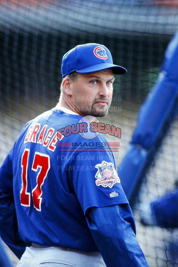 Mark Grace of the Chicago Cubs before a 1999 Major League Baseball season game against the Los Angeles Dodgers in Los Angeles, California. (Larry Goren/Four Seam Images)