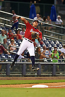 Mississippi Braves third baseman Rio Ruiz (5) throws to first during a game against the Pensacola Blue Wahoos on May 28, 2015 at Trustmark Park in Pearl, Mississippi.  Mississippi defeated Pensacola 4-2.  (Mike Janes/Four Seam Images)
