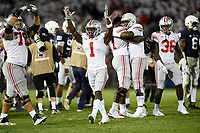 STATE COLLEGE, PA - SEPTEMBER 29: Ohio State G Demetrius Knox (78), WR Johnnie Dixon III (1), T Nicholas Petit-Frere, and QB Dwayne Haskins, Jr. (7) celebrate as time expires. The Ohio State Buckeyes defeated the Penn State Nittany Lions 27-26 on September 29, 2018 at Beaver Stadium in State College, PA. (Photo by Randy Litzinger/Icon Sportswire)