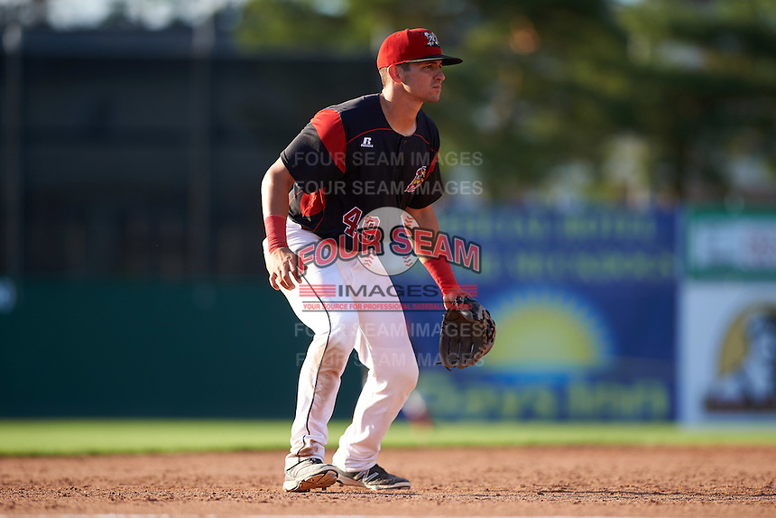 Batavia Muckdogs third baseman J.J. Gould (49) during a game against the West Virginia Black Bears on August 21, 2016 at Dwyer Stadium in Batavia, New York.  West Virginia defeated Batavia 6-5. (Mike Janes/Four Seam Images)