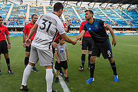 San Jose, CA - Tuesday June 11, 2019: Chris Wondolowski #8 in the coin toss before the US Open Cup match between the San Jose Earthquakes and Sacramento Republic FC at Avaya Stadium.