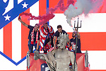 Atletico de Madrid Diego Godin, Fernando Torres, Gabi Fernandez and Koke Resurreccion celebrating Europa League Championship at Neptune Fountain in Madrid, Spain. May 18, 2018. (ALTERPHOTOS/Borja B.Hojas)