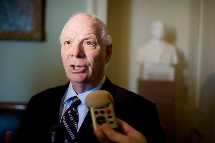 UNITED STATES - AUGUST 02:  Sen. Ben Cardin, D-Md., talks with reporters after the Senate passed a deal to raise the nation's debt limit and reduce the deficit.  (Photo By Tom Williams/Roll Call)