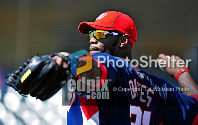 5 March 2010: Washington Nationals' outfielder Elijah Dukes warms up prior to a Spring Training game against the Atlanta Braves at Champion Stadium in the ESPN Wide World of Sports Complex in Orlando, Florida. The Braves defeated the Nationals 11-8 in Grapefruit League action. Mandatory Credit: Ed Wolfstein Photo