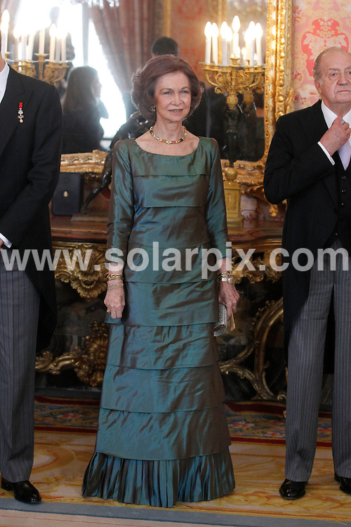 **ALL ROUND PICTURES FROM SOLARPIX.COM**                                             **WORLDWIDE SYNDICATION RIGHTS EXCEPT SPAIN - NO SYNDICATION IN SPAIN**                                                                                  Caption:   The Spanish Royal family including  receive Spanish diplomates at the Royal Place in Madrid today.                                                                            This pic: Queen Sofia                                 JOB REF:14387        DMS/Drake       DATE: 24.01.2012                                                          **MUST CREDIT SOLARPIX.COM OR DOUBLE FEE WILL BE CHARGED**                                                                      **MUST AGREE FEE BEFORE ONLINE USAGE**                               **CALL US ON: +34 952 811 768 or LOW RATE FROM UK 0844 617 7637**