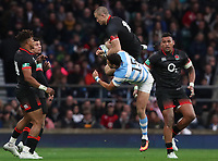 England's Mike Brown and Argentina's Joaquin Tuculet <br /> <br /> Photographer Rachel Holborn/CameraSport<br /> <br /> International Rugby Union Friendly - Old Mutual Wealth Series Autumn Internationals 2017 - England v Argentina - Saturday 11th November 2017 - Twickenham Stadium - London<br /> <br /> World Copyright &copy; 2017 CameraSport. All rights reserved. 43 Linden Ave. Countesthorpe. Leicester. England. LE8 5PG - Tel: +44 (0) 116 277 4147 - admin@camerasport.com - www.camerasport.com