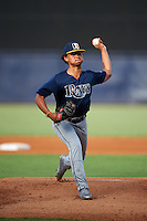 Pitcher Jordan Butler (14) of Alonso High School in Odessa, Florida playing for the Tampa Bay Rays scout team during the East Coast Pro Showcase on August 3, 2016 at George M. Steinbrenner Field in Tampa, Florida.  (Mike Janes/Four Seam Images)