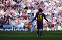 FUSSBALL  INTERNATIONAL  PRIMERA DIVISION  SAISON 2012/2013   26. Spieltag  El Clasico   Real Madrid  - FC Barcelona        02.03.2013 Lionel Messi (Barca) ratlos