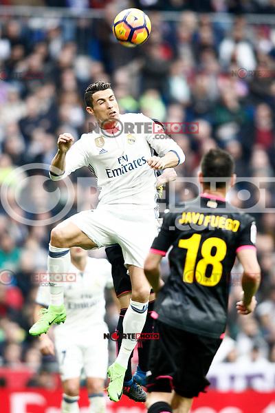 Real Madrid's Cristiano Ronaldo (l) and RCD Espanyol's Javi Fuego during La Liga match. February 18,2017. (ALTERPHOTOS/Acero) /Nortephoto.com