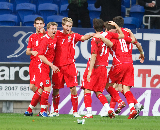 David Edwards celebrates his goal for Wales