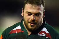 A bloodied Greg Bateman of Leicester Tigers looks on after the match. Aviva Premiership match, between Leicester Tigers and London Irish on January 6, 2018 at Welford Road in Leicester, England. Photo by: Patrick Khachfe / JMP