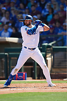 Joey Gallo (13) of the Texas Rangers at bat during a Cactus League Spring Training game against the Los Angeles Dodgers on March 8, 2020 at Surprise Stadium in Surprise, Arizona. Rangers defeated the Dodgers 9-8. (Tracy Proffitt/Four Seam Images)