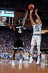 GLENDALE, AZ - APRIL 03: Justin Jackson #44 of the North Carolina Tar Heels takes a jumpshot over Jordan Mathews #4 of the Gonzaga Bulldogs during the 2017 NCAA Men's Final Four National Championship game at University of Phoenix Stadium on April 3, 2017 in Glendale, Arizona.  (Photo by Brett Wilhelm/NCAA Photos via Getty Images)