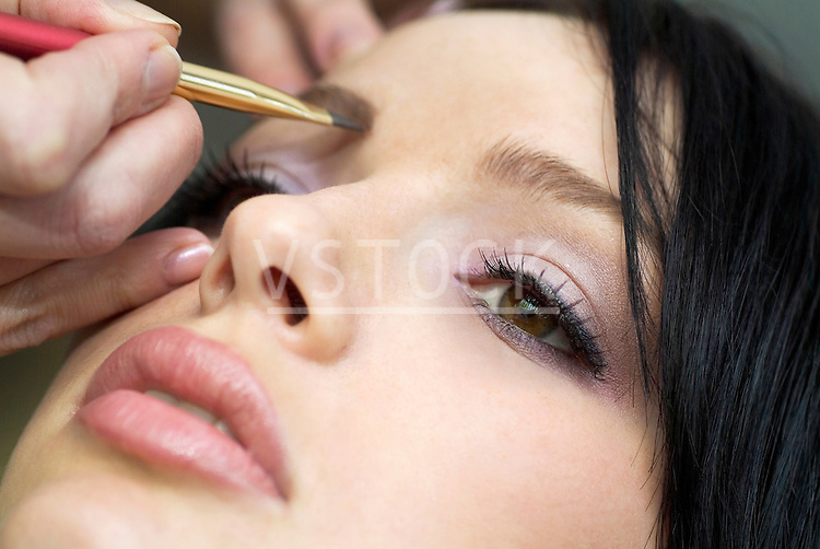 Woman getting makeover