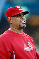 St.Louis Cardinals coach Jose Oquendo #11 before a game against the Los Angeles Dodgers at Dodger Stadium on September 13, 2012 in Los Angeles, California. St.Louis defeated Los Angeles 2-1. (Larry Goren/Four Seam Images)