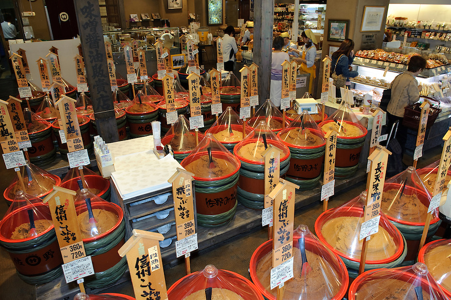Inside Sano Miso shop, Tokyo, Japan, May 25, 2009. Sano Miso sells 60 kinds of gourmet miso as well as varied miso products. The company was founded in 1934 and has four shops in Tokyo.