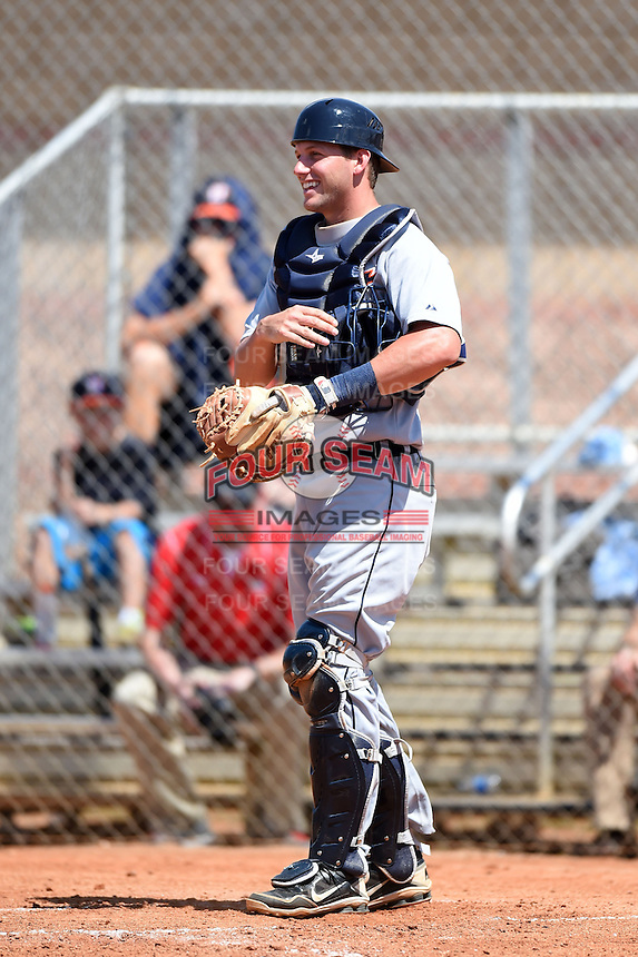 Detroit Tigers catcher Drew Longley (81) during a minor league spring training game against the Houston Astros on March 21, 2014 at Osceola County Complex in Kissimmee, Florida.  (Mike Janes/Four Seam Images)