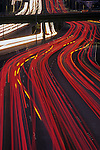 Rush hour traffic through downtown Seattle along Interstate 5 car light streaks Washington State USA