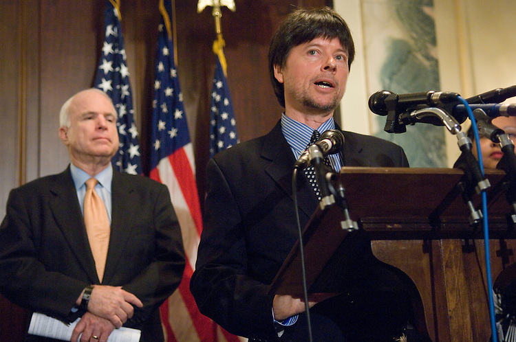 "WASHINGTON, DC - April 01: Sen. John McCain, R-Ariz., and documentary film maker Ken Burns, during a news conference urging passage of a resolution pardoning Jack Johnson, the first African-American heavyweight boxing champion of the world of his wrongful conviction of the Mann Act in 1913. Johnson defeated his white opponent for the title on July 4, 1910, in Reno, Nev., in the ""fight of the century,"" to become heavyweight champion. The result of the fight caused race riots throughout the U.S.. Johnson was subsequently found guilty in a sham trial of violating the Mann Act, which outlawed the transporting women in interstate or foreign commerce ""for the purpose of prostitution, debauchery, or for any other immoral purpose."" Burns' documentary on Johnson, ""Unforgivable Blackness,"" first aired on PBS in 2005. (Photo by Scott J. Ferrell/Congressional Quarterly)"