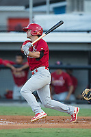 Joey Hawkins (49) of the Johnson City Cardinals follows through on his swing against the Burlington Royals at Burlington Athletic Park on August 22, 2015 in Burlington, North Carolina.  The Cardinals defeated the Royals 9-3. (Brian Westerholt/Four Seam Images)