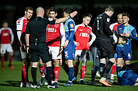 Fleetwood Town's Ched Evans (3rd left) is sent off by referee Kevin Johnson for a foul on Wycombe Wanderers' Jason McCarthy (right) <br /> <br /> Photographer Andrew Kearns/CameraSport<br /> <br /> The EFL Sky Bet League One - Wycombe Wanderers v Fleetwood Town - Tuesday 11th February 2020 - Adams Park - Wycombe<br /> <br /> World Copyright © 2020 CameraSport. All rights reserved. 43 Linden Ave. Countesthorpe. Leicester. England. LE8 5PG - Tel: +44 (0) 116 277 4147 - admin@camerasport.com - www.camerasport.com