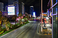 Las Vegas NV - March 21:  Las Vegas Strip empty after shutdown of all nonessential businesses in Las Vegas, Nevada on March 21, 2020. <br /> CAP/MPI/DAM<br /> ©DAM/MPI/Capital Pictures