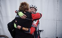 Elite Women's Race Winner Sophie de Boer's (NLD/Kalas-NNOF) victory hug <br /> <br /> Soudal Classic Leuven 2016