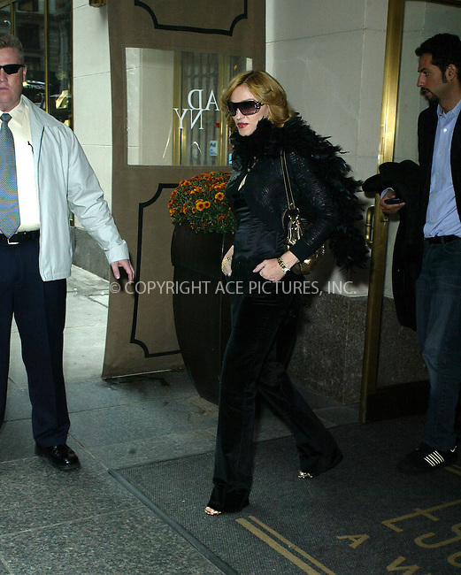 WWW.ACEPIXS.COM . . . . .  ....NEW YORK, OCTOBER 20, 2005....Madonna is seen leaving the Essex House in all black.....Please byline: PAUL CUNNINGHAM - ACE PICTURES..... *** ***..Ace Pictures, Inc:  ..Craig Ashby (212) 243-8787..e-mail: picturedesk@acepixs.com..web: http://www.acepixs.com