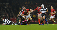 Wales Jake Ball is tackled by Barbarians Josh Strauss<br /> <br /> Photographer Ian Cook/CameraSport<br /> <br /> 2019 Autumn Internationals - Wales v Barbarians - Saturday 30th November 2019 - Principality Stadium - Cardifff<br /> <br /> World Copyright © 2019 CameraSport. All rights reserved. 43 Linden Ave. Countesthorpe. Leicester. England. LE8 5PG - Tel: +44 (0) 116 277 4147 - admin@camerasport.com - www.camerasport.com