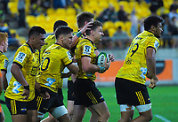 The Hurricanes celebrate Beauden Barrett's try during the Super Rugby match between the Hurricanes and Stormers at Westpac Stadium in Wellington, New Zealand on Saturday, 23 March 2019. Photo: Dave Lintott / lintottphoto.co.nz