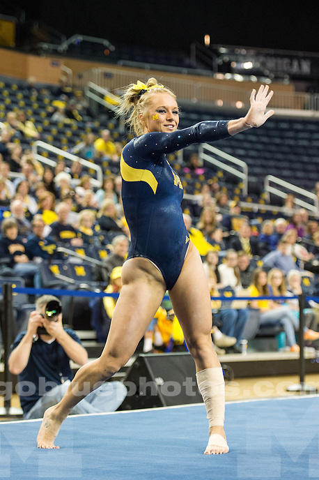 The University of Michigan women's gymnastics team defeats Maryland and Eastern Michigan with a total of 197.425 points (1st of 3) at Crisler Center in Ann Arbor, MI on February 8, 2016.