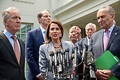Speaker of the United States House of Representatives Nancy Pelosi (Democrat of California) makes a statement as she and Democratic members of the United States House and Senate speak to reporters at the White House in Washington, DC after meeting with US President Donald J. Trump on April 30, 2019. Pictured from left to right: US Representative Richard Neal (Democrat of Massachusetts), US Senator Ron Wyden (Democrat of Oregon), Speaker Pelosi, US Representative Peter DeFazio (Democrat of Oregon), US House Majority Leader Steny Hoyer (Democrat of Maryland), and US Senate Minority Leader Chuck Schumer (Democrat of New York).<br /> Credit: Ron Sachs / CNP
