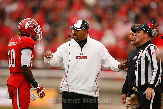Trent Nelson  |  The Salt Lake Tribune.Utah coach Kyle Whittingham has words with receiver DeVonte Christopher during the first quarter, Utah vs. Arizona State, college football at Rice-Eccles Stadium in Salt Lake City, Utah, Saturday, October 8, 2011.