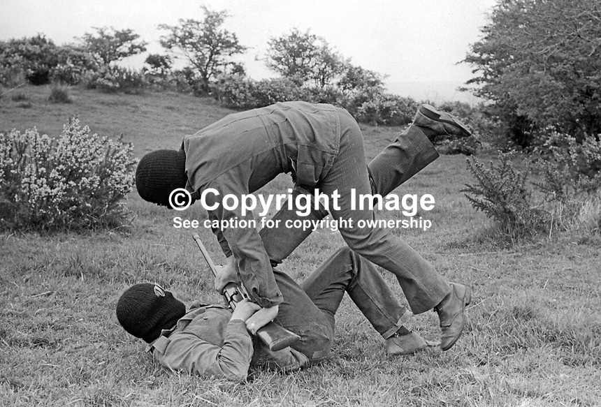 UDA training camp, somewhere near Belfast, N Ireland, UK where members are given firearms and unarmed combat instruction. May 1972. 197205000364c<br /> <br /> Copyright Image from Victor Patterson, 54 Dorchester Park, Belfast, UK, BT9 6RJ<br /> <br /> Tel: +44 28 9066 1296<br /> Mob: +44 7802 353836<br /> Voicemail +44 20 8816 7153<br /> Email: victorpatterson@me.com<br /> Email: victorpatterson@gmail.com<br /> <br /> IMPORTANT: My Terms and Conditions of Business are at www.victorpatterson.com